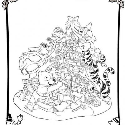 Coloriage Noel Disney Winnie Ourson Gif