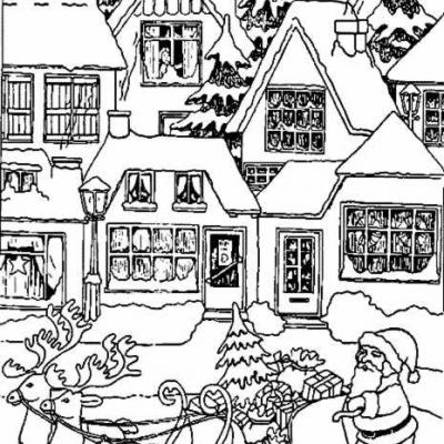 Coloriage Noel Traineau Village Gif